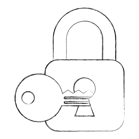 cyber security padlock and key on keyhole vector illustration