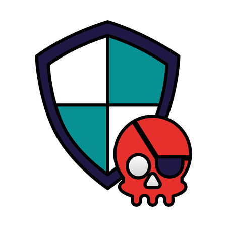 shield protection skull crime cyber security vector illustration