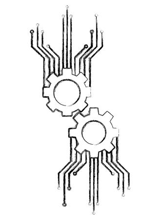 technology gear mechanism work circuit electronic vector illustration
