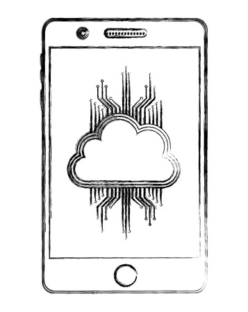 smartphone cloud computing storage data circuit vector illustration
