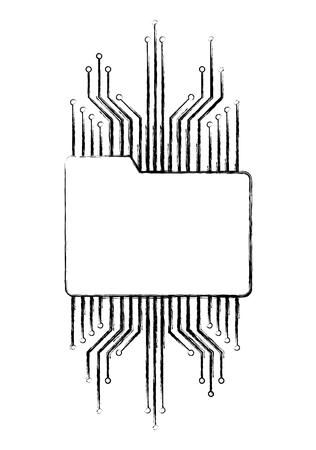 folder file data information circuit technology vector illustration Illustration