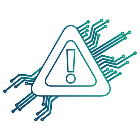 warning alert problem error circuit technology vector illustration degraded color