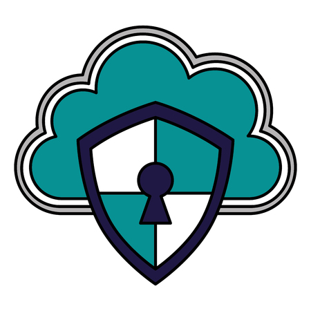 cloud storage shield protection keyhole cyber security vector illustration