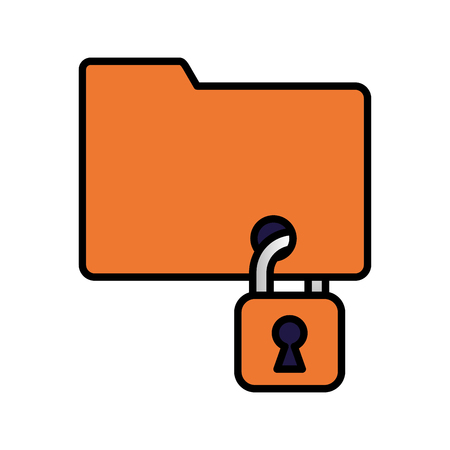 cyber security folder files data padlock safety vector illustration