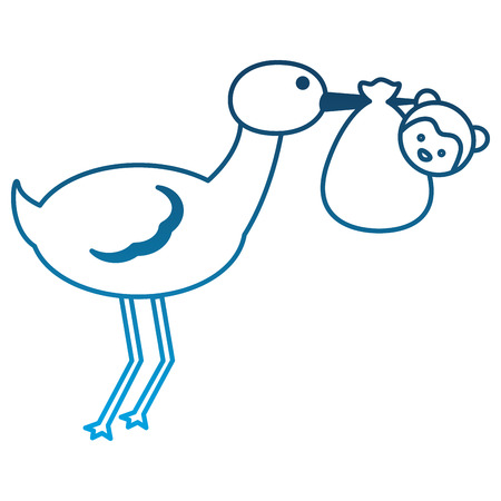 cute stork carrying baby monkey in blanket vector illustration degraded color Standard-Bild - 100186079