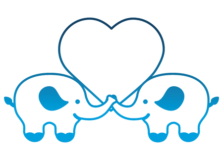 pair of elephants with love heart vector illustration degraded color Illustration