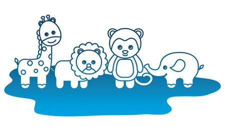toys animals baby lion monkey elephant giraffe vector illustration degraded color