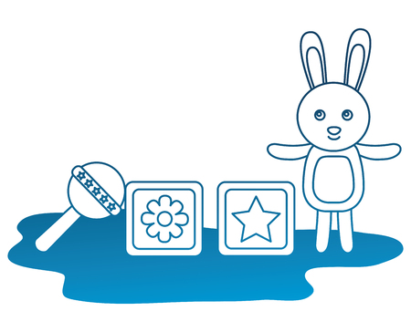toys baby shower rabbit cubes and rattle vector illustration degraded color Standard-Bild - 100264323