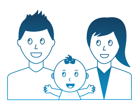 happy family dad mom and baby portrait vector illustration degraded color