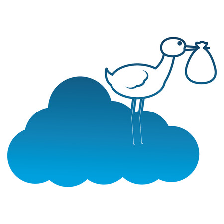 baby shower stork standing in cloud with bag in beak vector illustration degraded color Иллюстрация