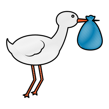 cute stork carrying baby in blanket vector illustration drawing Illustration