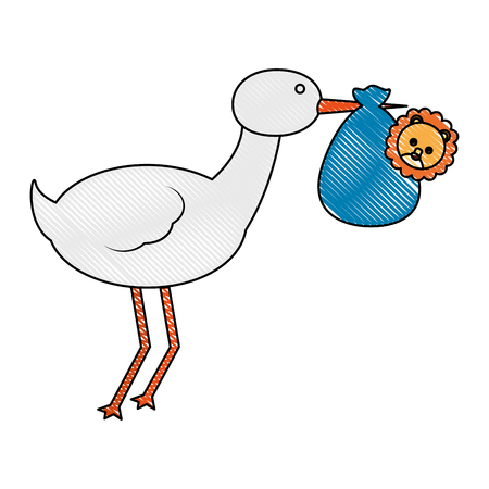 cute stork carrying baby lion animal in blanket vector illustration drawing