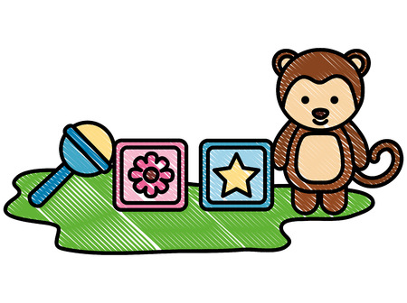 baby shower toy monkey furry cubes and rattle vector illustration drawing Çizim