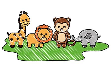 toys animals baby lion monkey elephant giraffe vector illustration drawing