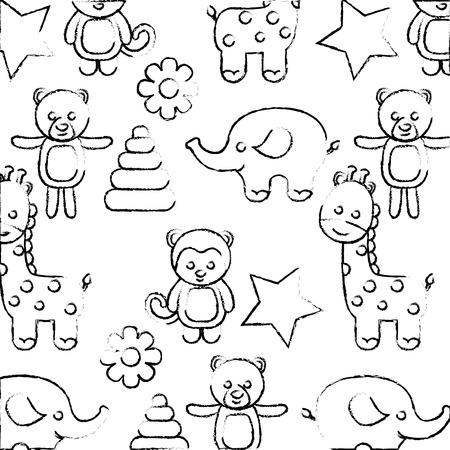 cute baby shower toys animals star flower background vector illustration sketch