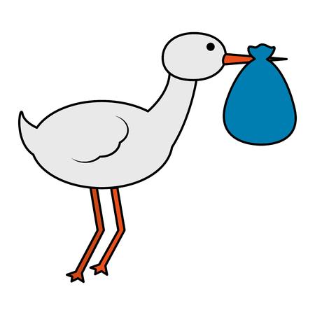 cute stork flying with bag vector illustration design Banque d'images - 100186821