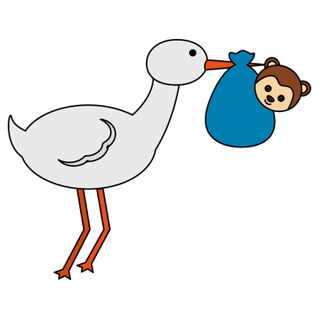 cute stork flying with monkey baby vector illustration design