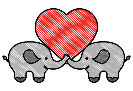 pair of elephants with love heart vector illustration drawing