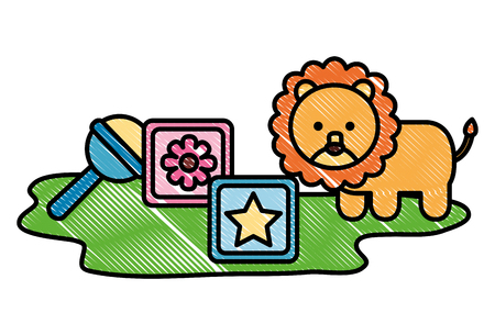 set toy baby lion rattle and cubes vector illustration drawing