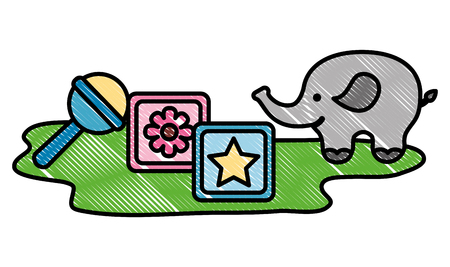 toys baby shower elephant cubes and rattle vector illustration drawing Illustration