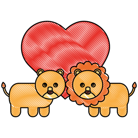 cute couple lions toys with heart in love vector illustration drawing Illustration