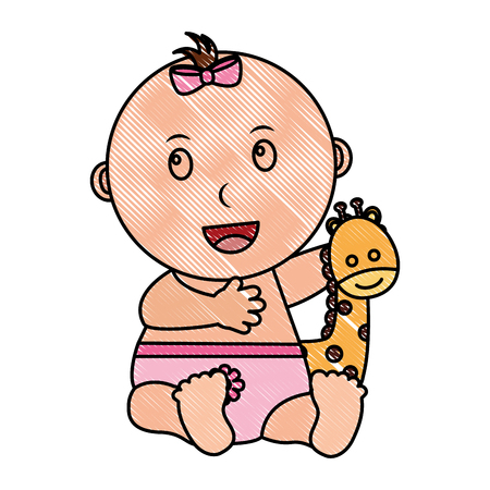 baby girl palying giraffe animal toy vector illustration drawing