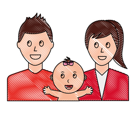 happy family dad mom and baby portrait vector illustration drawing