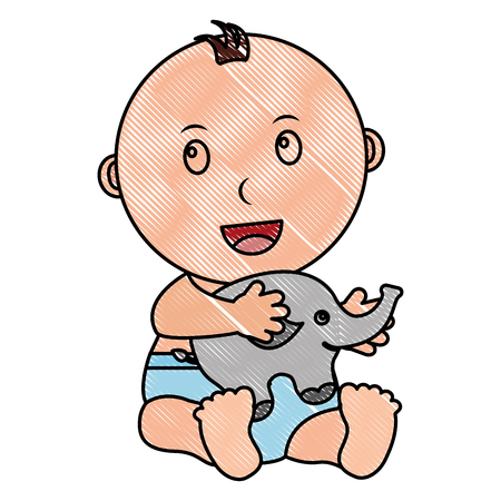baby boy palying elephant animal toy vector illustration drawing