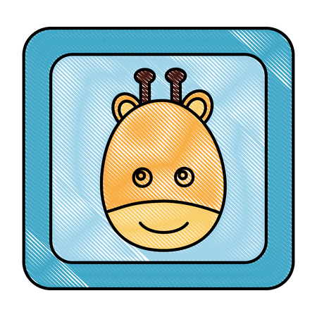 toy play game baby shower cube with giraffe face vector illustration drawing