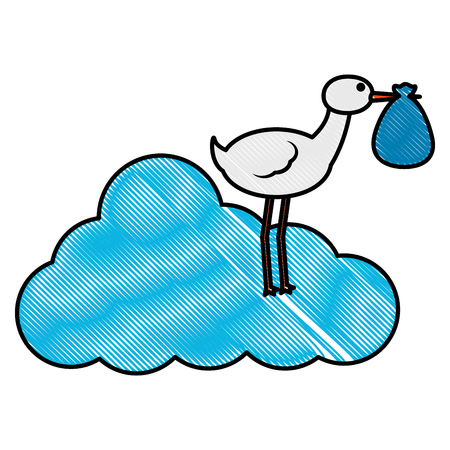 baby shower stork standing in cloud with bag in beak vector illustration drawing
