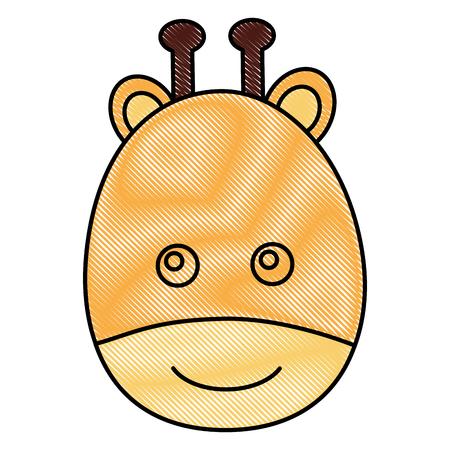 cute head giraffe animal baby vector illustration drawing Illustration