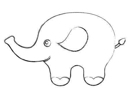 cute baby elephant animal image vector illustration sketch Illustration