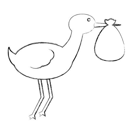 cute stork carrying baby in blanket vector illustration sketch Standard-Bild - 100271609