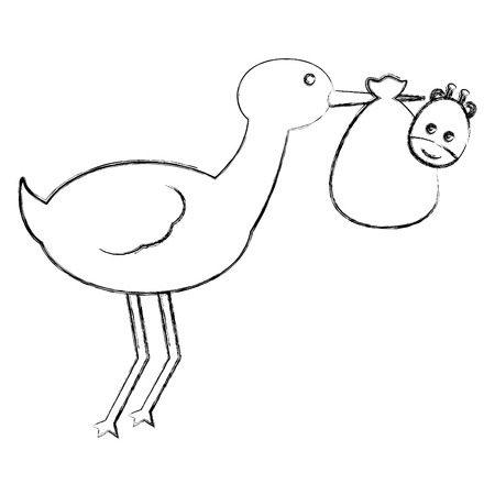 cute stork carrying baby giraffe in blanket vector illustration sketch