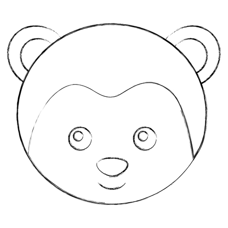 cute monkey face toy adorable vector illustration sketch