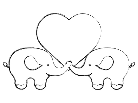 pair of elephants with love heart vector illustration sketch