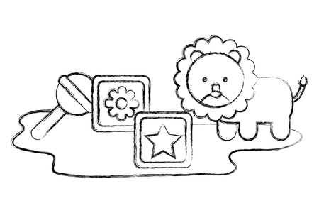 set toy baby lion rattle and cubes vector illustration sketch
