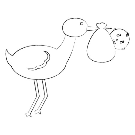 cute stork carrying baby in blanket vector illustration sketch Illustration
