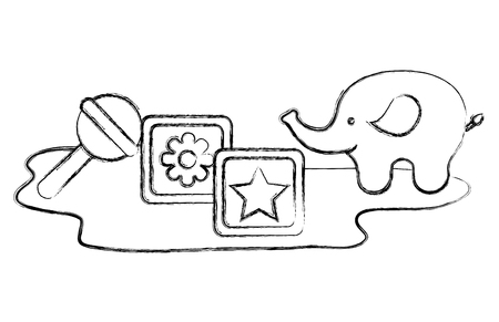 toys baby shower elephant cubes and rattle vector illustration sketch