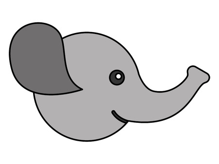 cute elephant head character icon vector illustration design