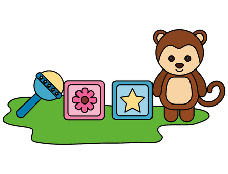 cute monkey with blocks and bell character vector illustration design