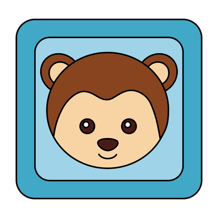 cute monkey face in button character icon illustration design