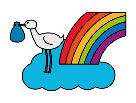 cute stork flying with cloud and rainbow vector illustration design Ilustração