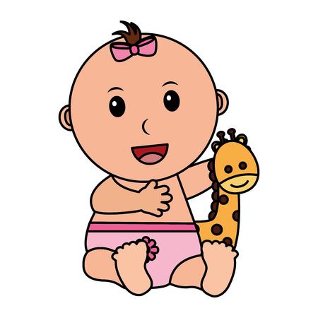 Petite fille avec mignon personnage girafe icône vector illustration design Vecteurs