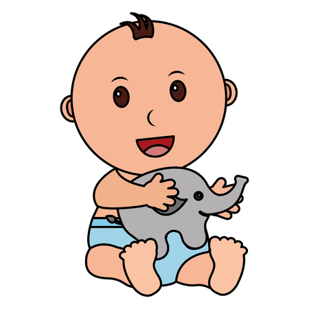 baby boy with cute elephant character icon vector illustration design Illustration