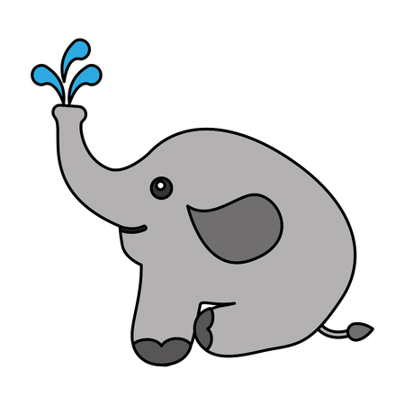 cute elephant with splash water icon vector illustration design