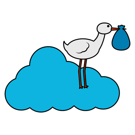 cute stork flying with sack in cloud vector illustration design Ilustração