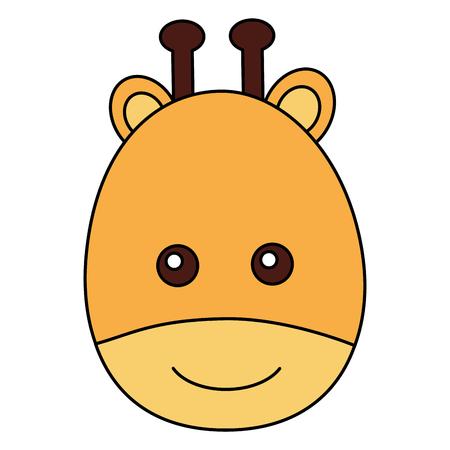 cute giraffe head character icon vector illustration design