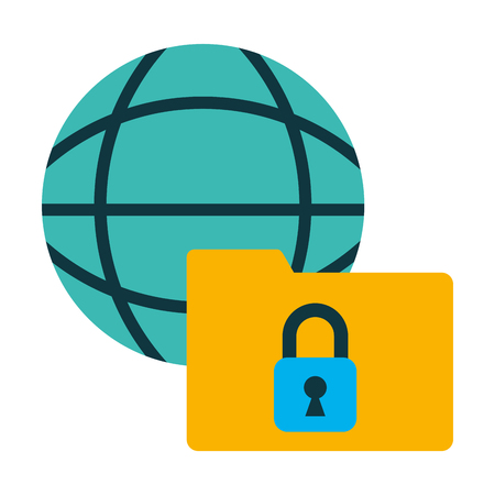 folder with sphere and padlock vector illustration design