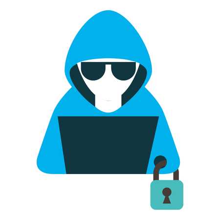 hacker with laptop and padlock character vector illustration Vectores